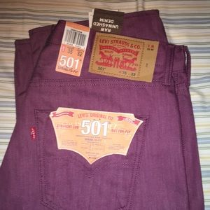 Levi 501 shrink to fit jeans purple 35x32